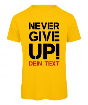 Never give up Fussball T-Shirt Gelb