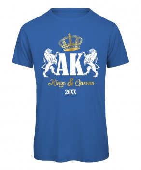 Kings and Queens Royalblau mit Weiß-Gold Druck