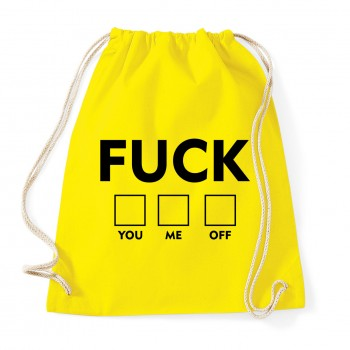 Fuck you me off  - Cotton Gymsac Yellow