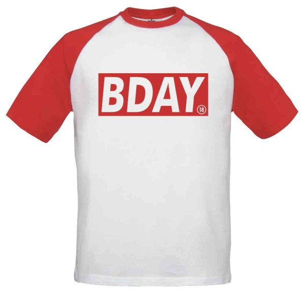 Baseball T-Shirt Endlich 18 - BDAY Rot