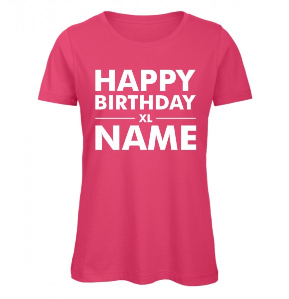 Geburtstags T-Shirt Name Pink