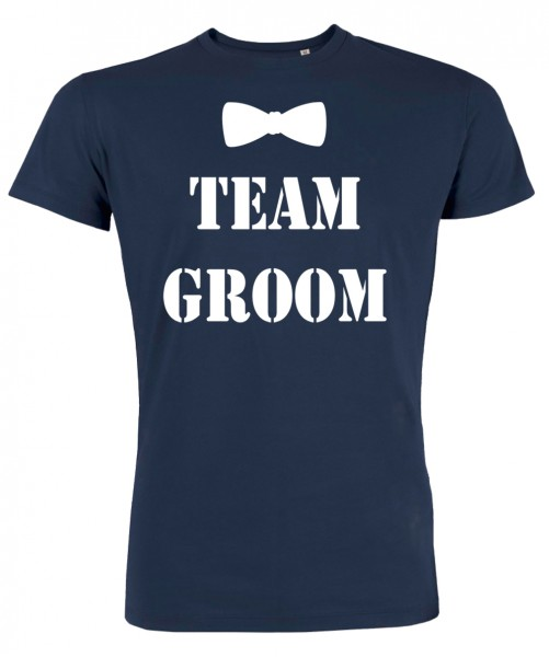 Groom Team Fliege JGA T-Shirt Marineblau